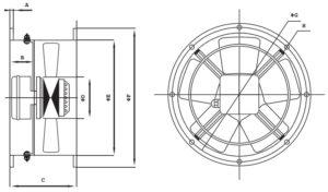 FR-BC csőperemes Axiál ventilátor méretei