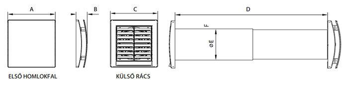 Quantum HR-150 egyhelyiséges hővisszanyerő szellőztető méretei
