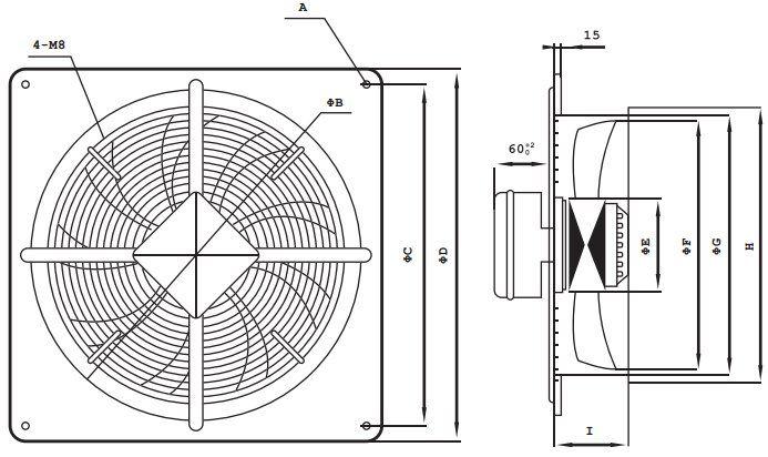 FR axiál ventilátor méretei BS típus