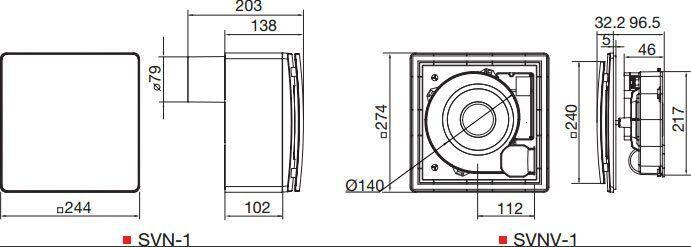 SVN centrifugális szellőztető ventilátorok méretei